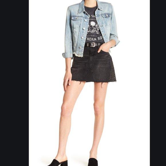 Blank NYC Stud Detail Frayed Black Denim Skirt